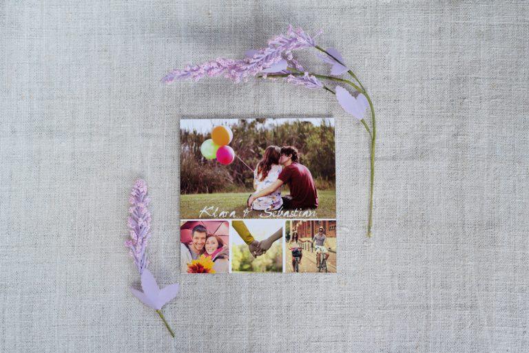 zdjęcie młodej pary na ślubnym zaproszeniu