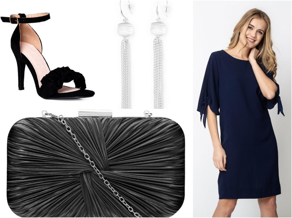 606825f59f Dla miłośniczek klasyki propozycja sukienki przed kolano w kolorze  głębokiego granatu oraz czarne dodatki – sandałki na szpilce oraz torebka o  wyjątkowej ...
