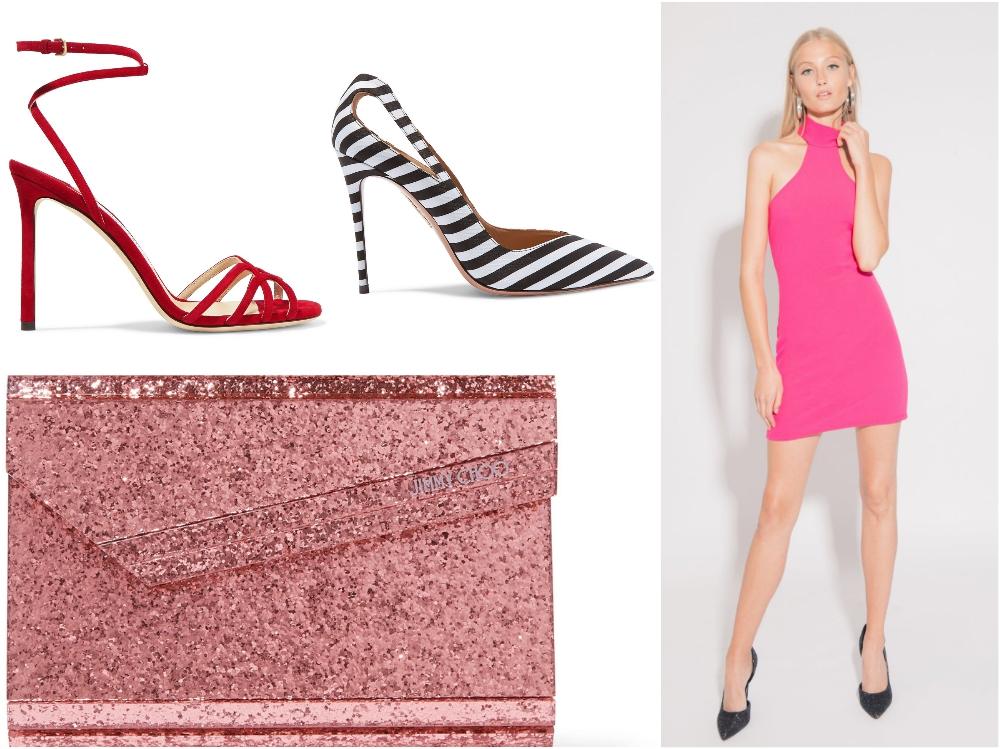 Neonowa różowa sukienka bez rękawów