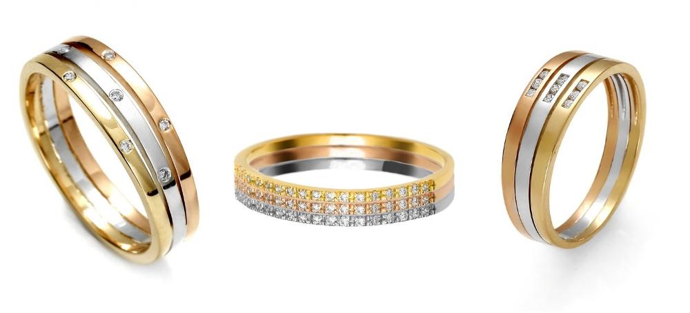 pierścionek zaręczynowy z trzech kolorów złota Diamor