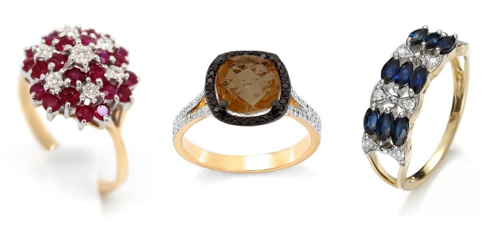 pierścionek zaręczynowy z kolorowymi kamieniami Diamor