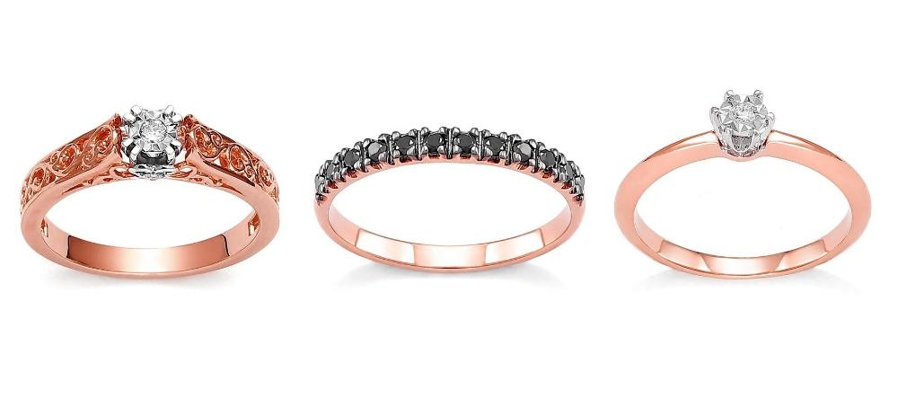 pierścionek zaręczynowy z różowego złota Diamor