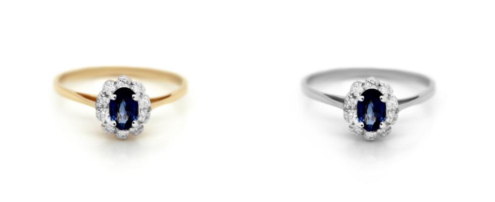 pierścionek zaręczynowy z szafirem Diamor