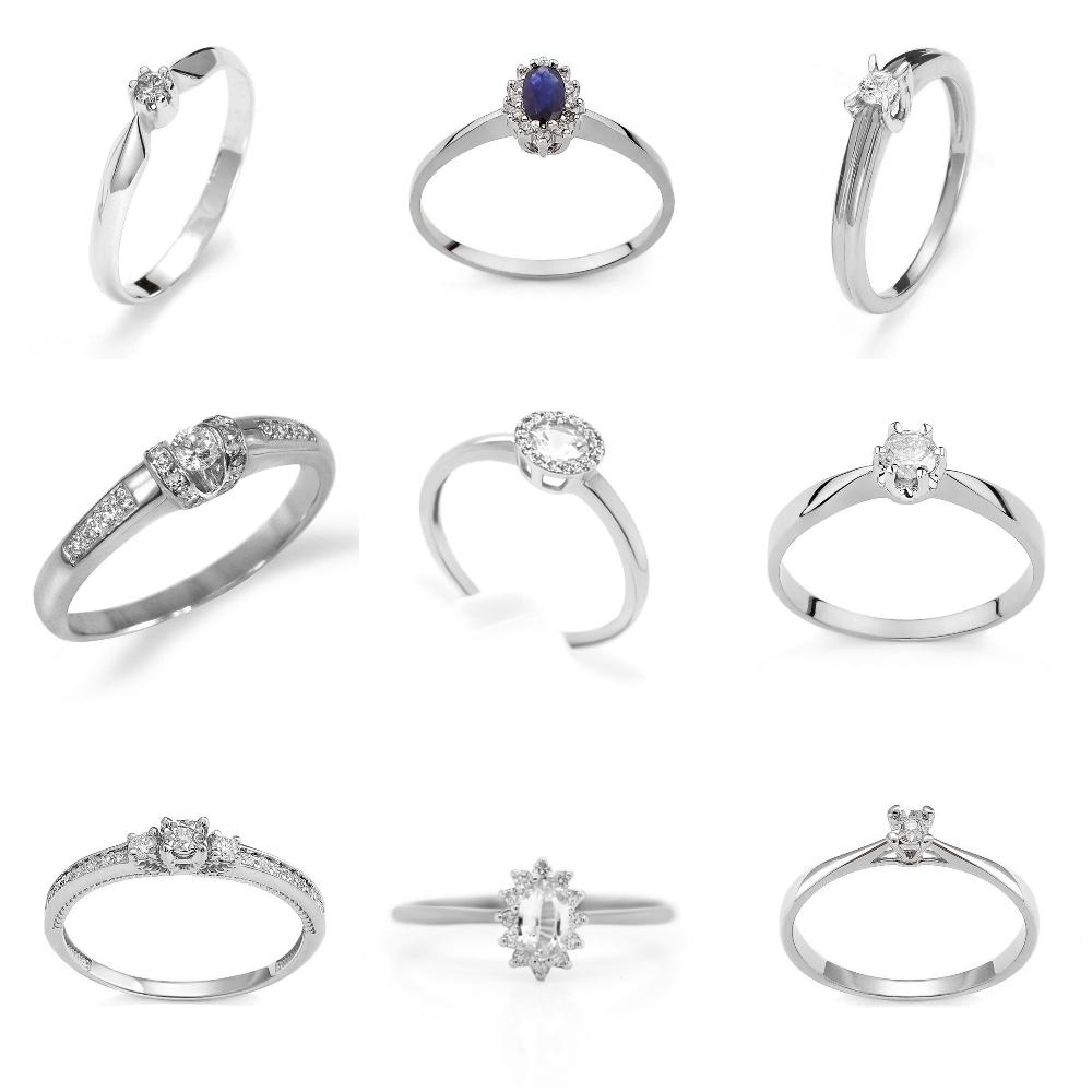 pierścionek zaręczynowy z białego złota Diamor
