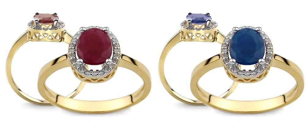 pierścionek zaręczynowy z rubinem i szafirem Diamor