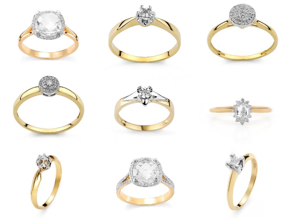 pierścionek zaręczynowy z żółtego złota Diamor