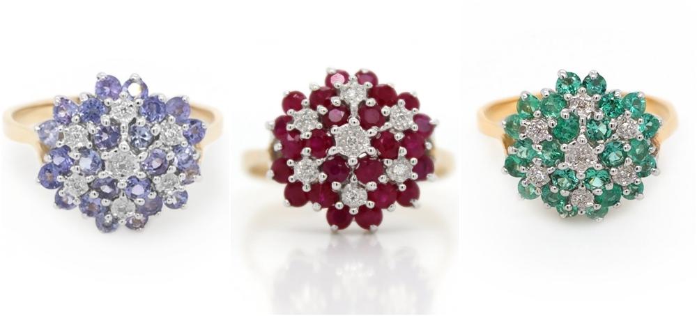 pierścionek zaręczynowy z kamieniami szlachetnymi Diamor